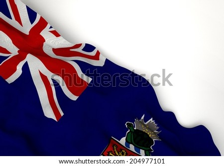 Waving of cayman islands flag, in corner of white background - stock photo