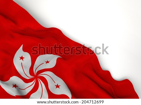 Waving of hong kong flag, in corner of gray background