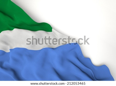 Waving of mato grosso do sul flag, in corner of white background  - stock photo