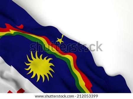 Waving of pernambuco flag, in corner of white background  - stock photo