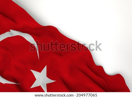 Waving of turkey flag, in corner of white background - stock photo