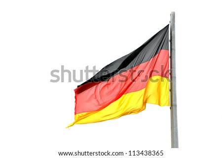 Waving on the wing German flag isolated