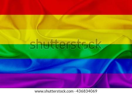 Waving Rainbow flag, lgbt community sign - stock photo