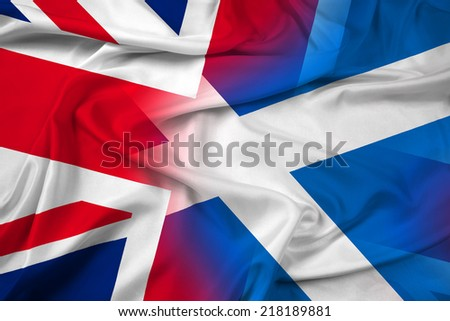 Waving Scotland and United Kingdom Flag - stock photo