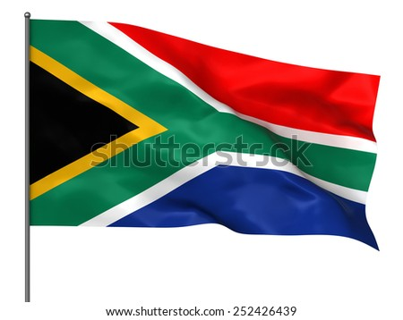 Waving South Africa flag isolated over black background - stock photo