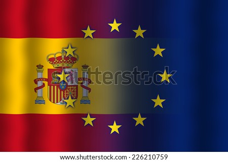 Waving Spain and European Union Flag - stock photo