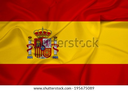 Waving Spain Flag - stock photo