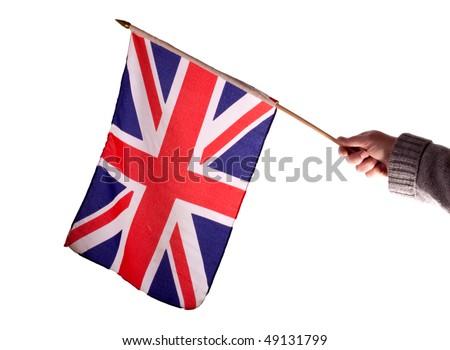 Waving the Union Jack flag against a white background - stock photo