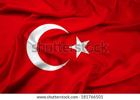 Waving Turkey Flag - stock photo