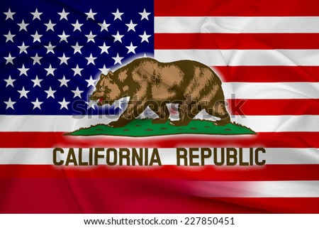 Waving USA and California State Flag - stock photo