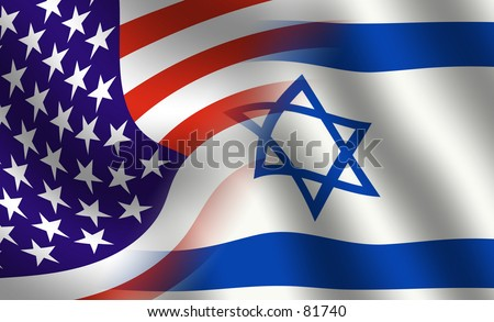 Waving USA and Israeli flag blended together - stock photo