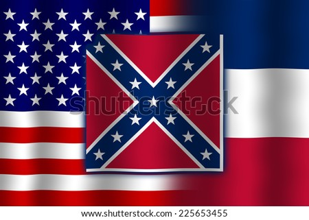 Waving USA and Mississippi State Flag - stock photo