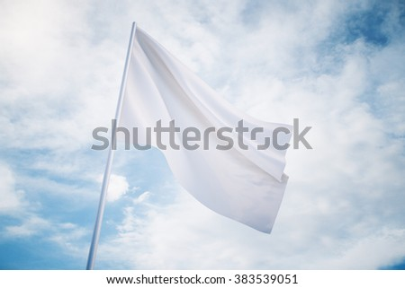 Waving white flag on a sky background, mock up - stock photo