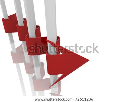 wavy arrow pass along the vertically standing poles