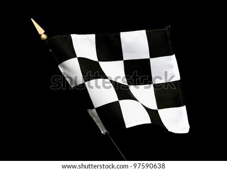 Wavy Black and White Finish Line Checkered Flag isolated on black background - stock photo