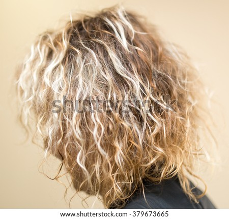 wavy blond hair girl as background
