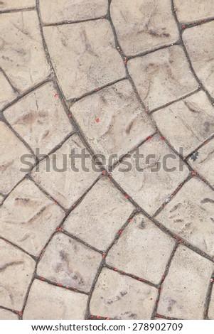 wavy brick walkway - stock photo