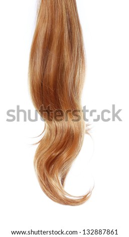 wavy brown hair over white background