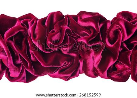 Wavy burgundy velvet isolated on white background - stock photo