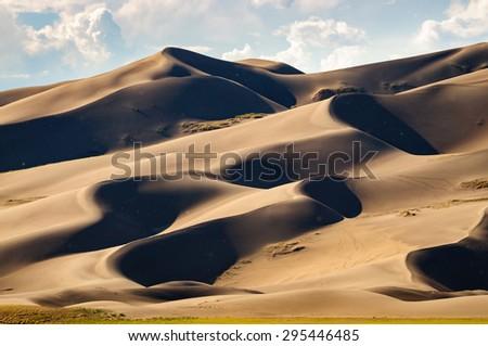 Wavy Dunes at Great Sand Dunes National Park - stock photo