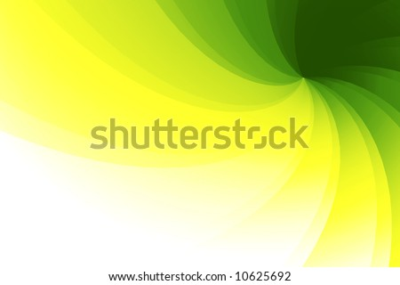 Wavy, faceted 3D background with green, yellow and white nuances - stock photo
