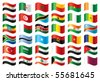 Wavy flags set - Africa & Middle East. 36  flags. JPEG version. - stock vector