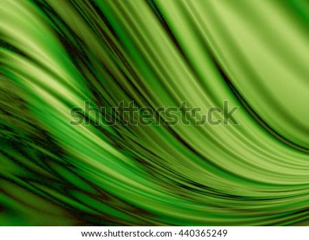 Wavy flowing green background coated  black zigzag smudges washouts   - stock photo