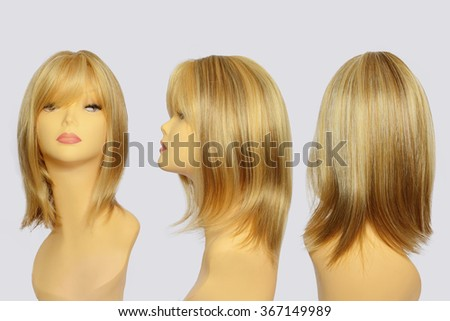 Wavy hair wig over the white plastic mannequin head isolated over the white background, set of three foreshortenings - stock photo