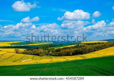 Wavy meadows spring landscape in South Moravia, Czech Republic - stock photo