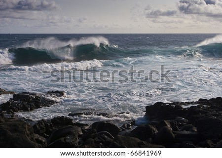 Wavy ocean on a windy day - stock photo
