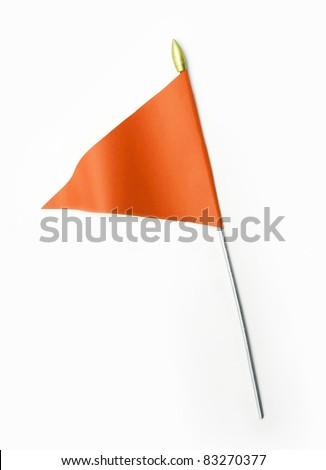 Wavy Orange Flag isolated on white background - stock photo