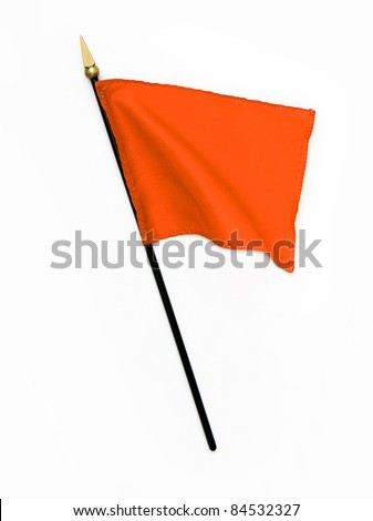Wavy Orange Silk Flag isolated on white background - stock photo