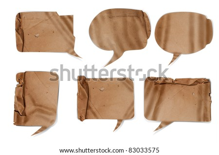 Wavy paper speech bubbles