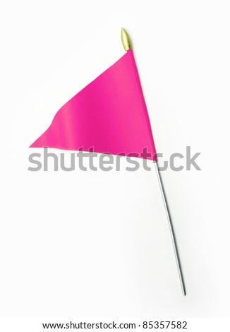 Wavy Pink Flag isolated on white background - stock photo