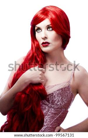 Wavy Red Hair woman. Fashion Girl Portrait. glamorous dress - stock photo