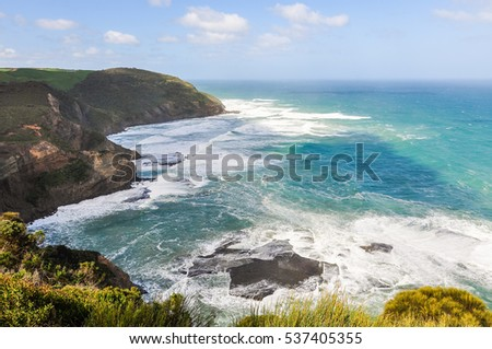 Wavy sea on the Great Ocean Road in Australia