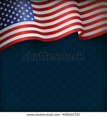 Wavy USA National Flag on Blue Background - stock photo
