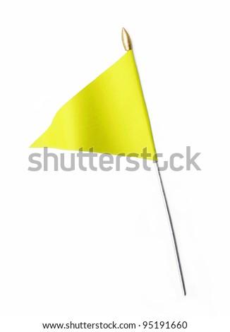 Wavy Yellow Flag isolated on white background - stock photo