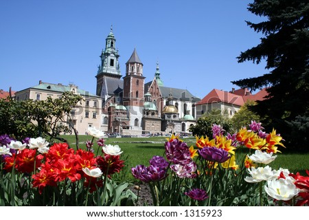 Wawel castle and garden - stock photo
