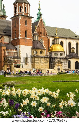Wawel Castle and Royal Cathedral in the springtime - Krakow, Poland - stock photo