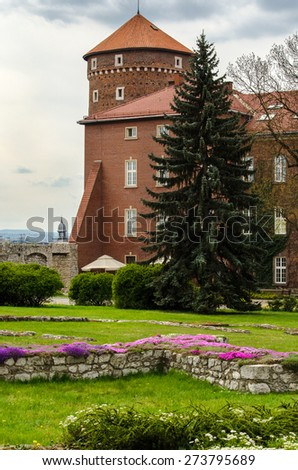 Wawel Castle in the springtime - Krakow, Poland - stock photo