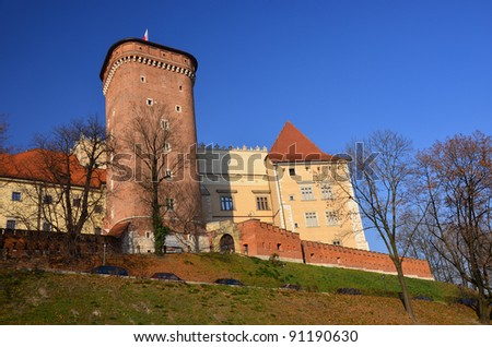 Wawel Castle on sunny day in autumn season in Cracow