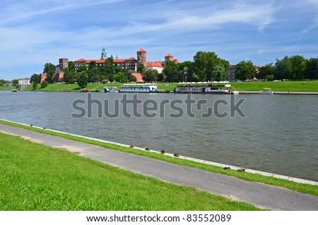 Wawel castle on the bank of Vistula river - stock photo