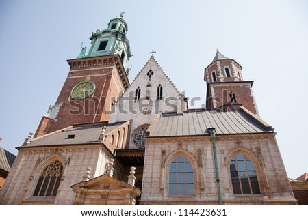 Wawel Cathedral, also known as the Cathedral Basilica of Sts. Stanis��?aw and Vaclav, is a church located on Wawel Hill in Krak���³w