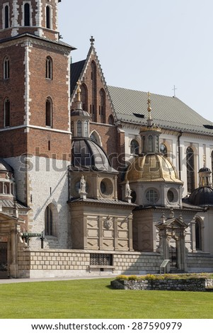 Wawel Cathedral on Wawel Hiill in old town of Cracow in Poland - stock photo