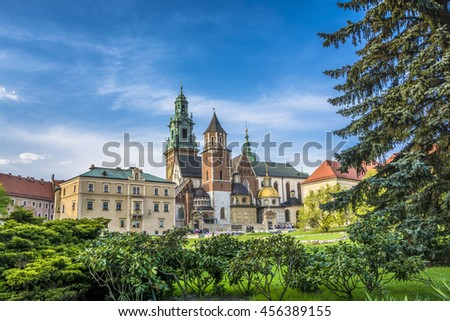 Wawel cathedral on Wawel Hill in Krakow, Poland