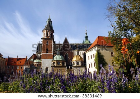 Wawel Cathedral ( The Cathedral Basilica of Sts. Stanislaw and Vaclav) - famous Polish landmark on the Wawel Hill in Cracow