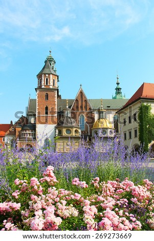 Wawel Cathedral, the part of Wawel Castle complex in Krakow, Poland - stock photo