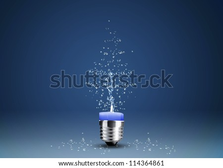 Wax candle into lighting bulb with water splashes. - stock photo