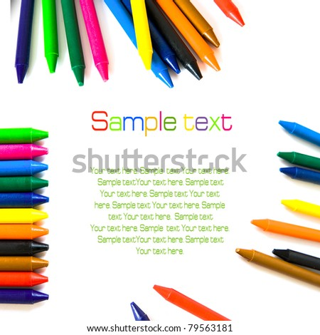 Wax color crayons isolated over white backgrond - stock photo